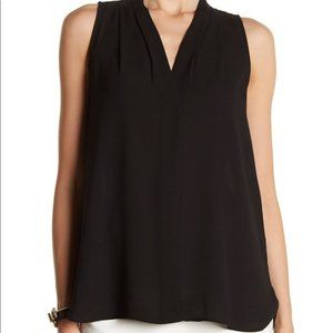 Vince Camuto Pleated V-Neck High/Low Tank Top